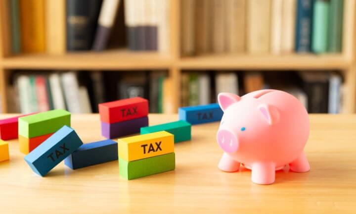 税金の積み木と貯金箱