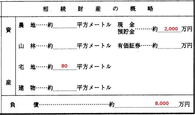 相続放棄申述書の相続財産の概略欄の書き方